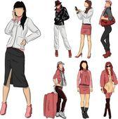 Set of fashion girls