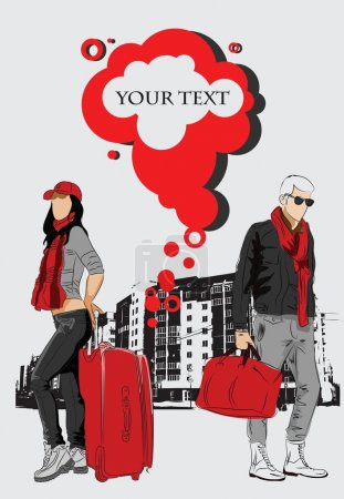 Fashion man and woman with bags on urban background
