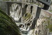 Devil's Bridge on Swiss alps
