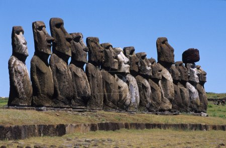 The beautiful Moai statues of Easter Island in the South Pacific