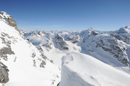 View from mount Titlis on the Swiss alps