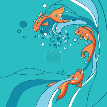 Illustration of gold fishes in water. Maritime background