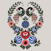 Illustration with flowers and birds in the Russian traditional style (Gorodets)