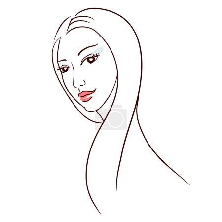 Illustration pour Elégance line art : femme aux cheveux longs - image libre de droit