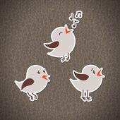 Illustration with three bird stickers Seamless background Eps 10