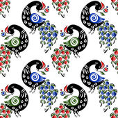 Seamless pattern with birds in the Russian traditional style (Gorodets)