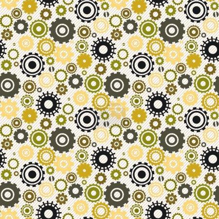 Seamless retro pattern with cogwheel