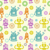 Funny pattern with robots and cogwheel