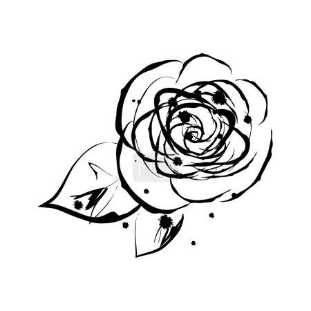 Illustration for Grunge elegance ink splash illustration of rose flower - Royalty Free Image