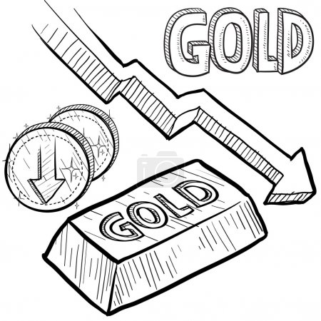 Illustration for Doodle style Gold precious metal value symbol with down arrow indication lowering price or deflation. Vector file includes arrow, title, coin symbol with down arrow, and ingot with title. - Royalty Free Image