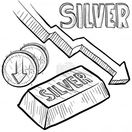 Illustration for Doodle style Silver precious metal value symbol with down arrow indication lowering price or deflation. Vector file includes arrow, title, coin symbol with down arrow, and ingot with title. - Royalty Free Image