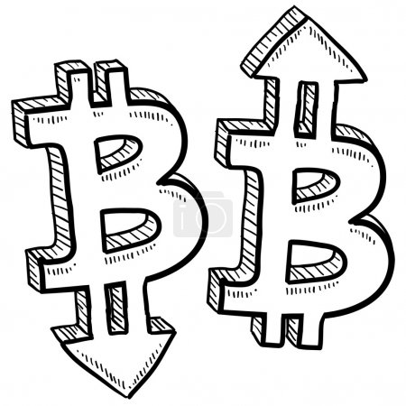Illustration for Doodle style Bitcoin digital currency symbol with arrows up and down to indicate inflation, deflation, evaluation, or devaluation as economic indicators. Vector format. - Royalty Free Image
