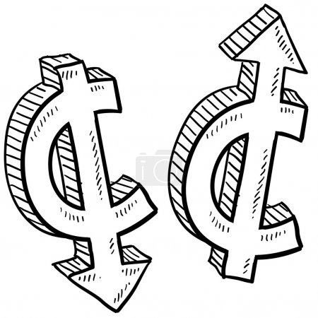 Illustration for Doodle style Cent international currency symbol with arrows up and down to indicate inflation, deflation, evaluation, or devaluation as economic indicators. Vector format. - Royalty Free Image