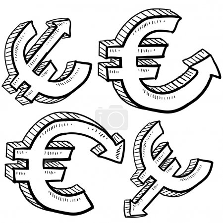 Illustration for Doodle style Euro international currency symbol with arrows up and down to indicate inflation, deflation, evaluation, or devaluation as economic indicators. Vector format. - Royalty Free Image