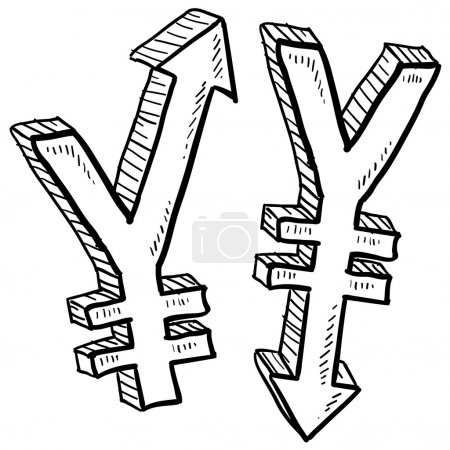Illustration for Doodle style Japanese Yen international currency symbol with arrows up and down to indicate inflation, deflation, evaluation, or devaluation as economic indicators. Vector format. - Royalty Free Image