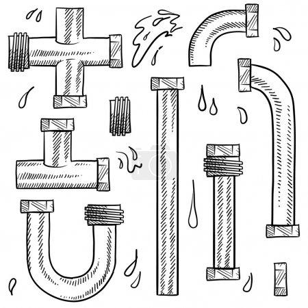 Water or plumbing pipes set