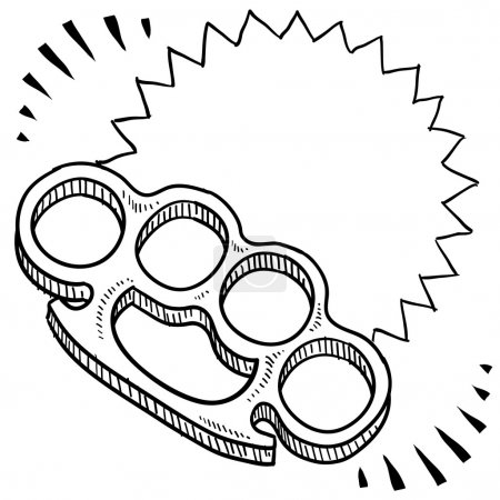 Doodle style brass knuckles weapon illustration wi...
