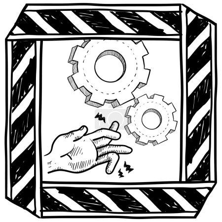 Dangerous machinery warning sketch