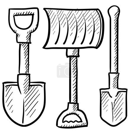 Set of shovels sketch