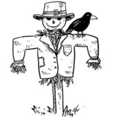 Doodle style sketch of a farm scarecrow with crow or raven in vector illustration
