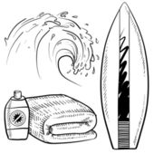 Surfing and beach objects sketch