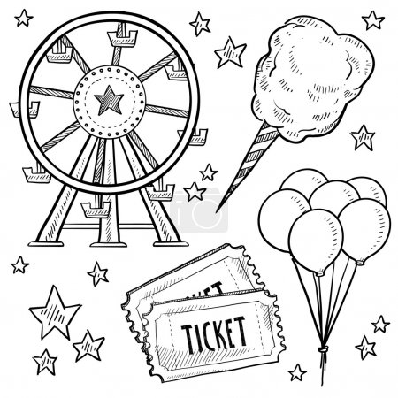 Carnival or amusement park objects sketch