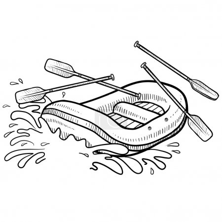 Whitewater rafting action sketch
