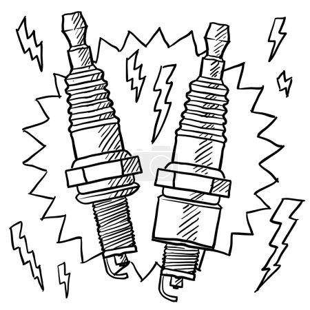 Automotive spark plug sketch