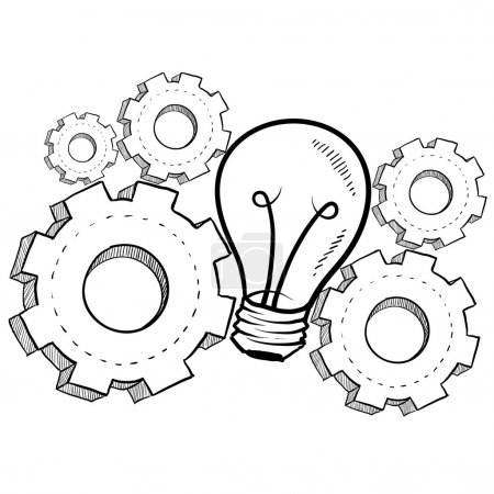 Illustration for Doodle style idea light bulb with working gears to indicate invention - Royalty Free Image