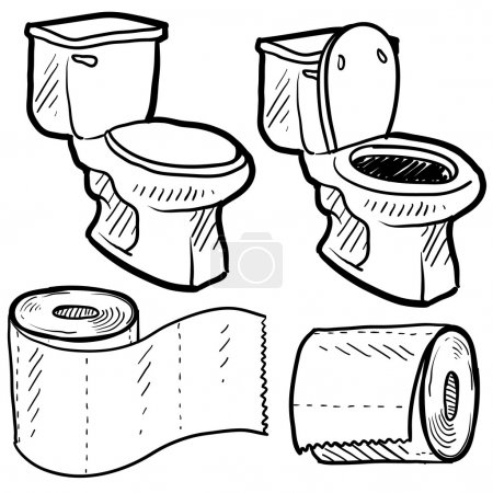 Toilet and bathroom objects sketch