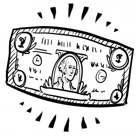 Illustration for Doodle style paper currency or dollar bill illustration with motion mark indicating stretching or expansion. Vector file. - Royalty Free Image