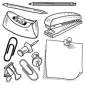 Office supplies assortment vector sketch