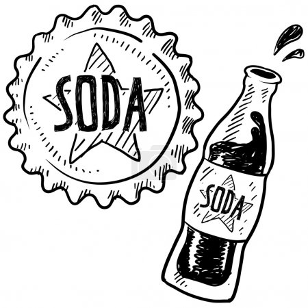 Soda bottle and cap sketch