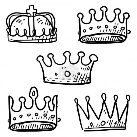 Illustration for Doodle style set of royal crowns in vector format - Royalty Free Image