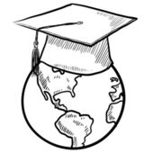 Student of the world vector sketch