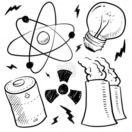 Illustration for Doodle style nuclear energy or power sketch in vector format. Set includes atom, battery, light bulb, radiation warning, and nuclear power plant. - Royalty Free Image