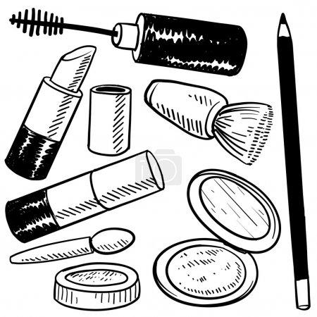 Illustration pour Croquis d'articles de maquillage de style caniche au format vectoriel. Ensemble comprenant rouge à lèvres, blush, compact, eye-liner et rouge . - image libre de droit