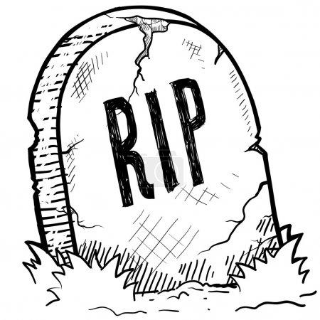 Spooky Halloween grave sketch
