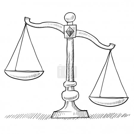 Illustration for Doodle style tipped or unbalanced scales of justice illustration in vector format suitable for web, print, or advertising use. - Royalty Free Image