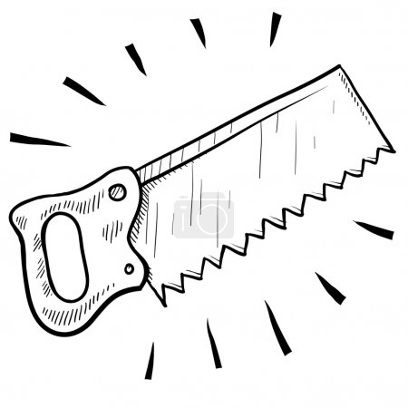 Illustration for Doodle style carpenter's saw illustration in vector format suitable for web, print, or advertising use. - Royalty Free Image