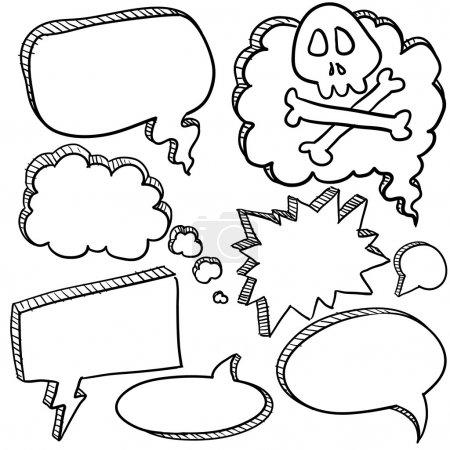Illustration pour Doodle style dessin animé conversation, discours ou bulles de pensée sous forme d'illustration vectorielle - image libre de droit