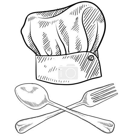 Illustration pour Chapeau de chef style caniche avec fourchette et cuillère au format vectoriel - image libre de droit