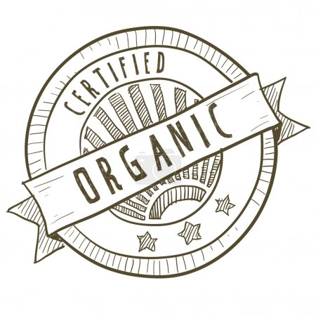 Doodle style certified organic food label in vecto...