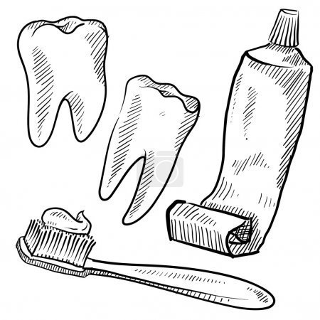 Illustration for Doodle style dentist vector illustration with teeth, toothpaste, and toothbrush - Royalty Free Image