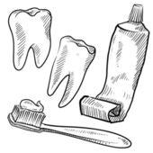 Zahnpflege-Objekte-Skizze