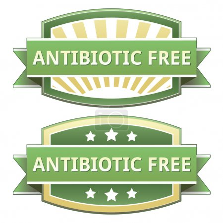 Antibiotic free food label, badge or seal with gre...