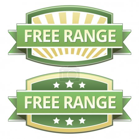 Illustration for Free range food label, badge or seal with green and yellow color in vector - Royalty Free Image