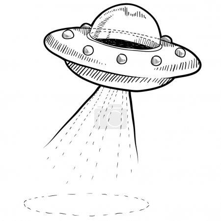 Retro flying saucer sketch