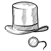 Top hat and monocle sketch