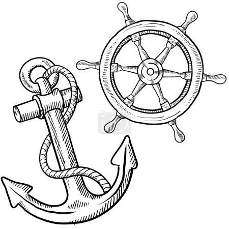 Anchor and ship's wheel sketch